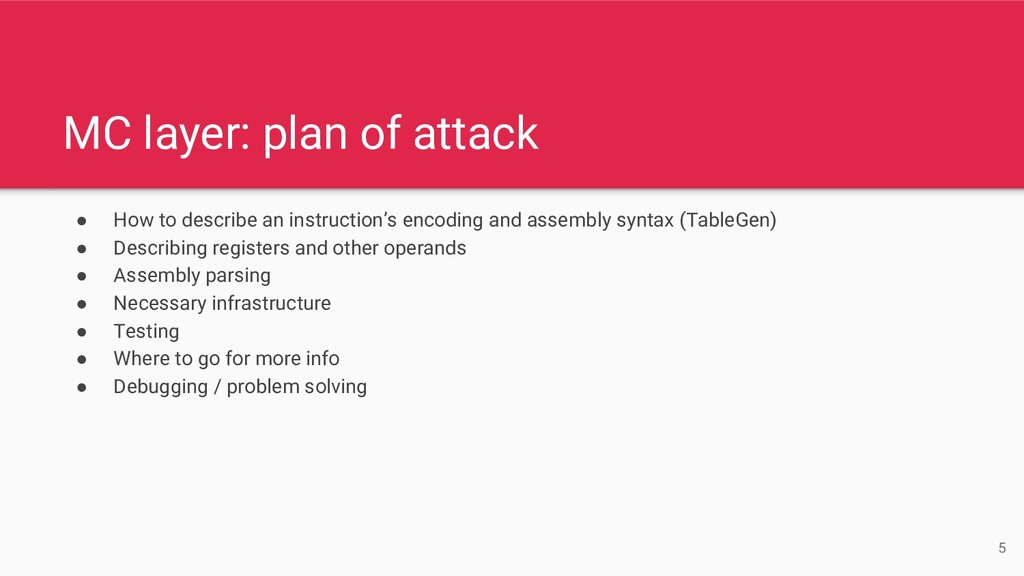 MC layer: plan of attack ● How to describe an i...