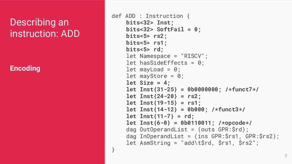 Describing an instruction: ADD Encoding 7 def A...