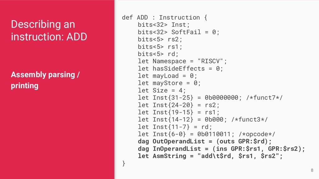 Describing an instruction: ADD Assembly parsing...
