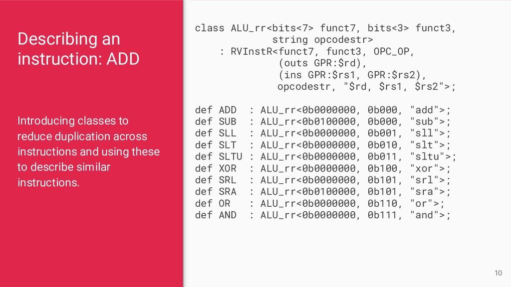 Describing an instruction: ADD Introducing clas...