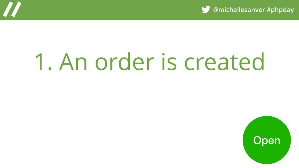 @michellesanver #phpday 1. An order is created ...