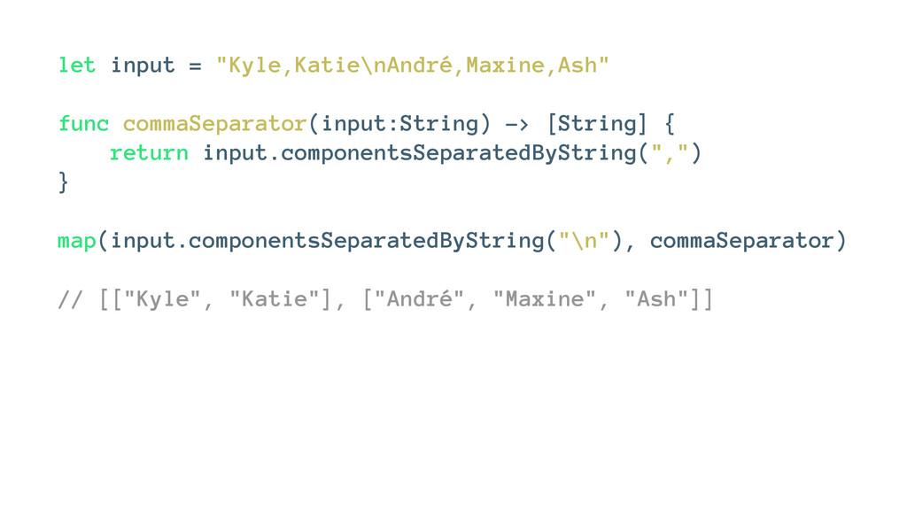 """let input = """"Kyle,Katie\nAndré,Maxine,Ash"""" func..."""