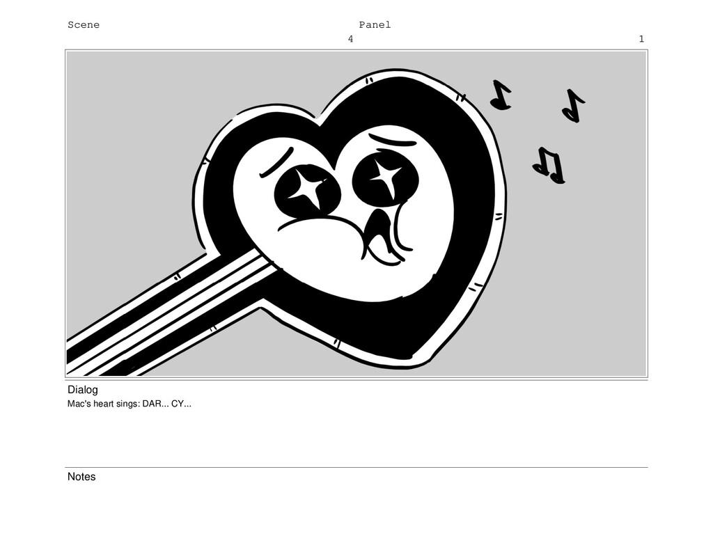 Scene 4 Panel 1 Dialog Mac's heart sings: DAR.....