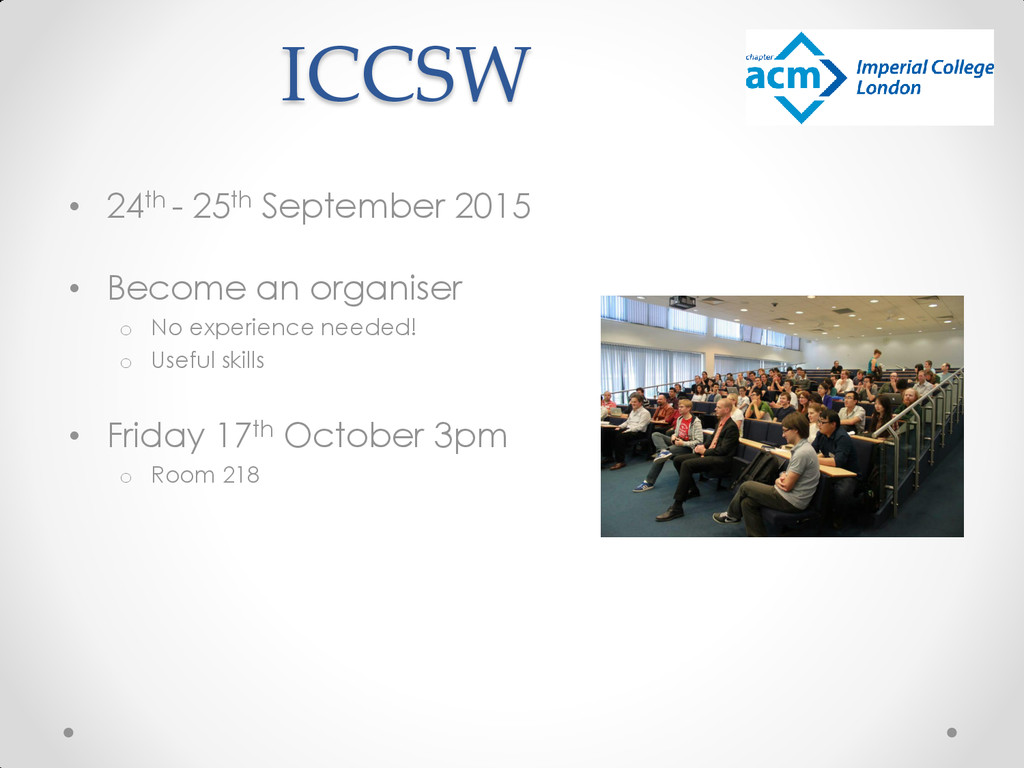 ICCSW • 24th - 25th September 2015 • Become an ...