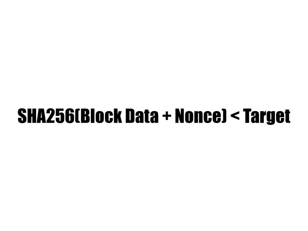 SHA256(Block Data + Nonce) < Target