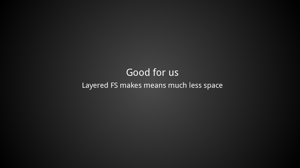 Good for us Layered FS makes means much less sp...