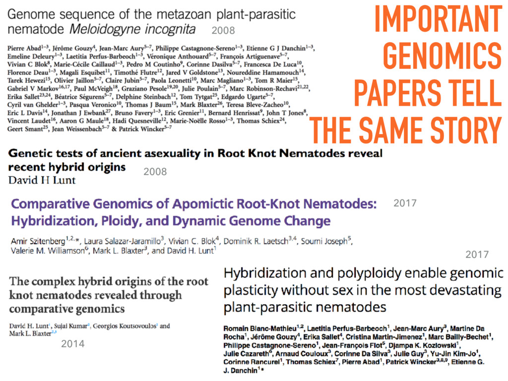 IMPORTANT GENOMICS PAPERS TELL THE SAME STORY 2...