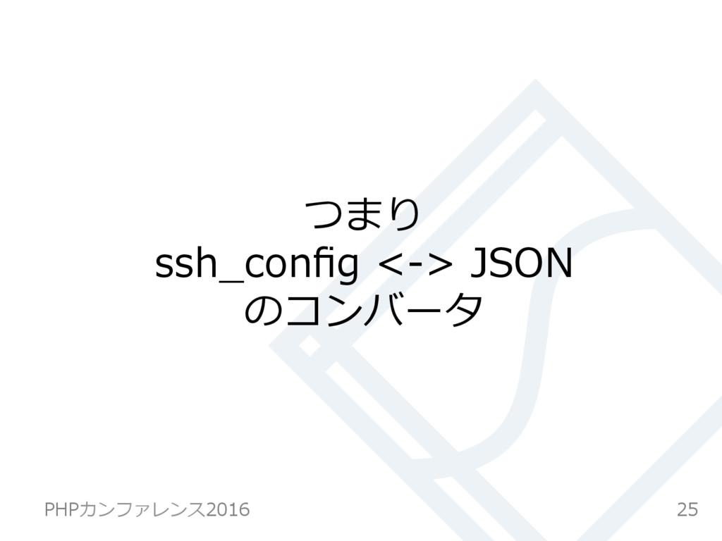 つまり ssh_config <-> JSON のコンバータ 25 PHPカンファレンス2016