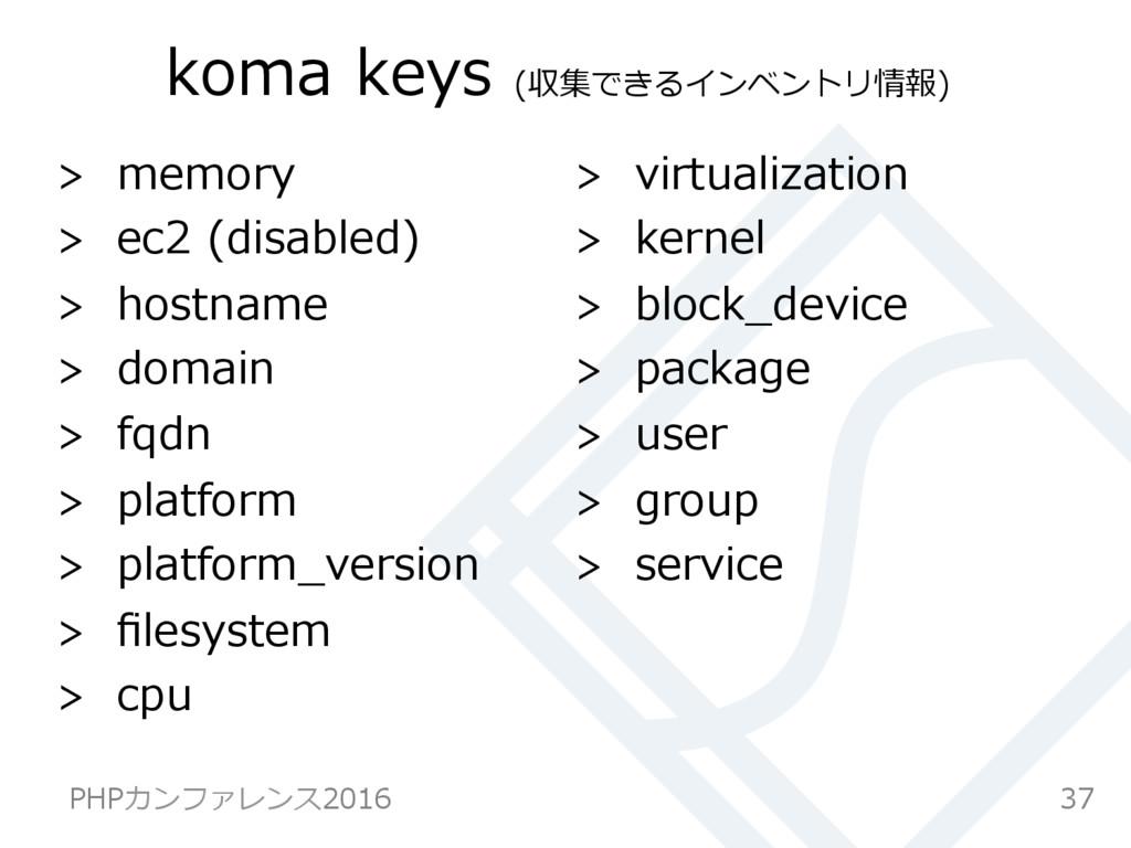 koma keys (収集できるインベントリ情報)  memory  ec2 (dis...