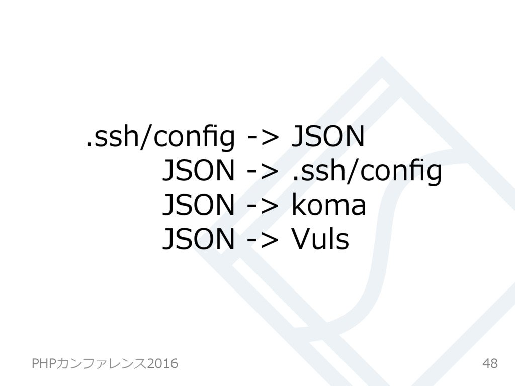 .ssh/config -> JSON JSON -> .ssh/config JSON -> k...