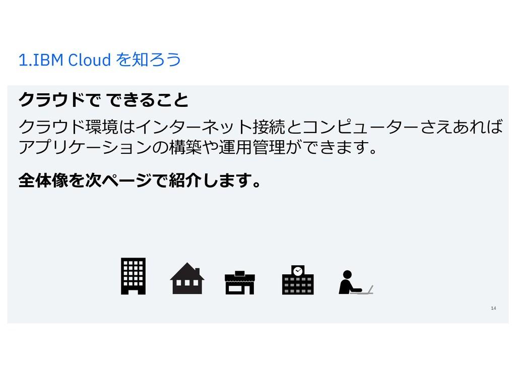 1.IBM Cloud を知ろう クラウドで できること 14 クラウド環境はインターネット接...