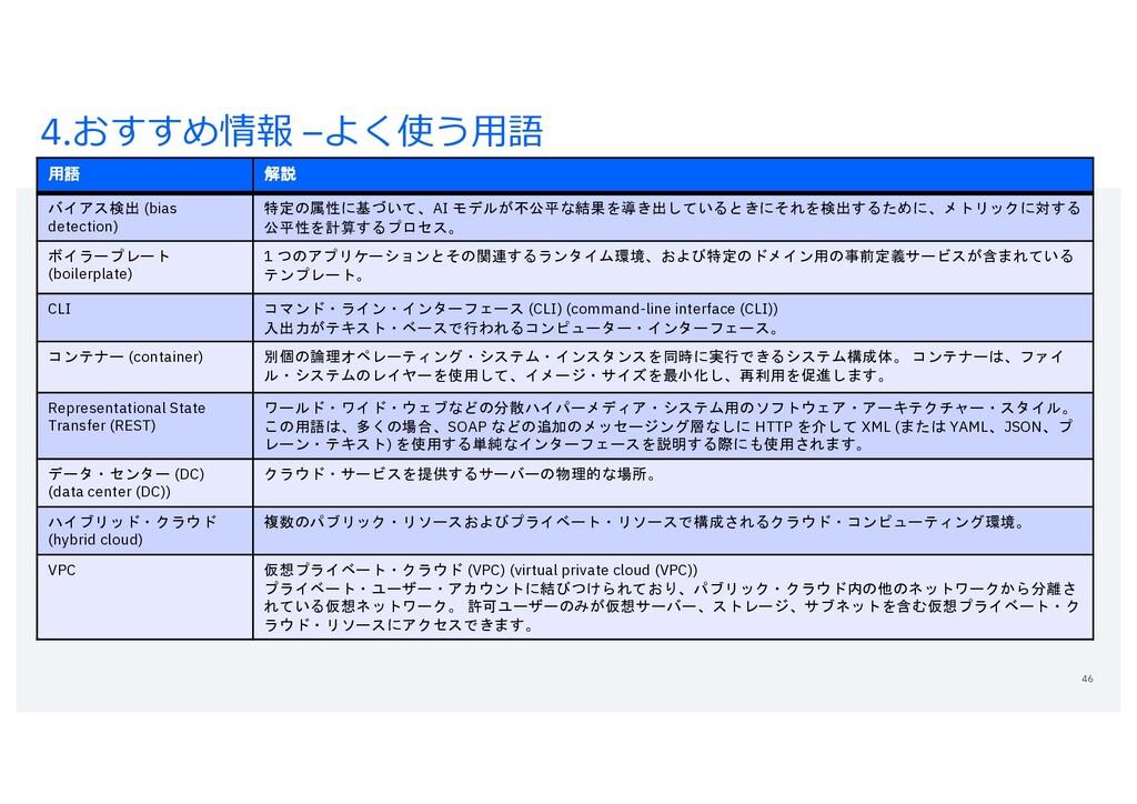 4.おすすめ情報 –よく使う⽤語 46 用語 解説 バイアス検出 (bias detectio...