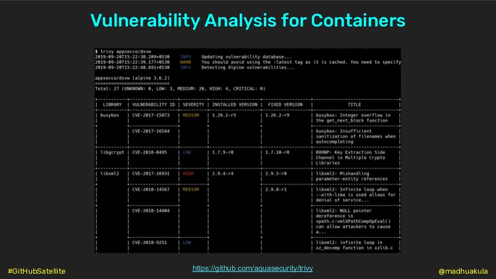 Vulnerability Analysis for Containers https://g...