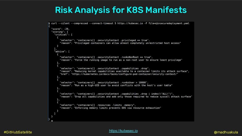 Risk Analysis for K8S Manifests https://kubesec...