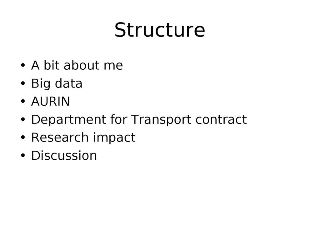 Structure • A bit about me • Big data • AURIN •...