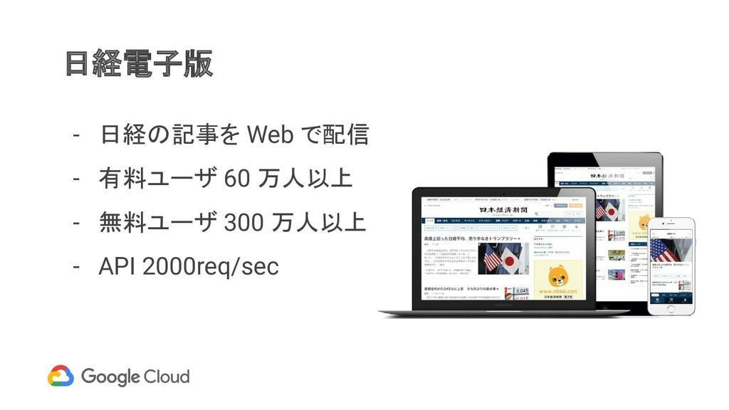 日経電子版 - 日経の記事を Web で配信 - 有料ユーザ 60 万人以上 - 無料ユーザ ...