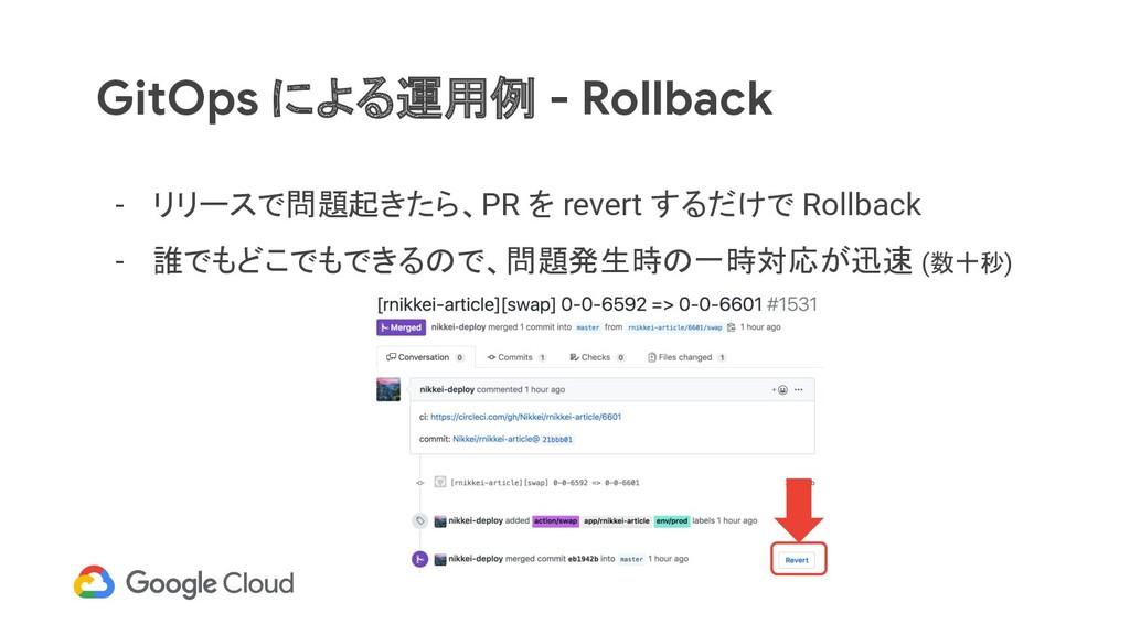 GitOps による運用例 - Rollback - リリースで問題起きたら、PR を rev...