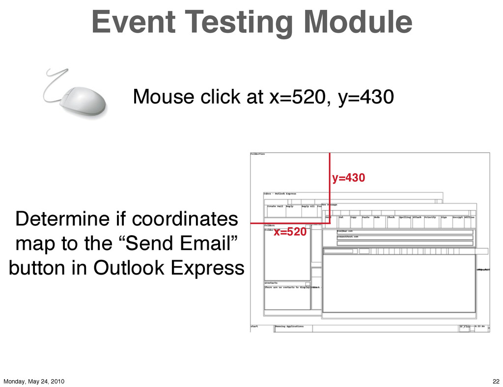 Event Testing Module Mouse click at x=520, y=43...