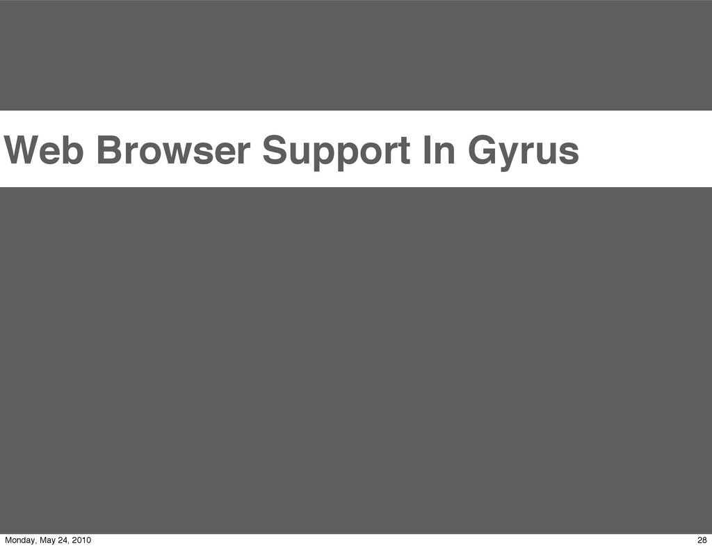 Web Browser Support In Gyrus 28 Monday, May 24,...