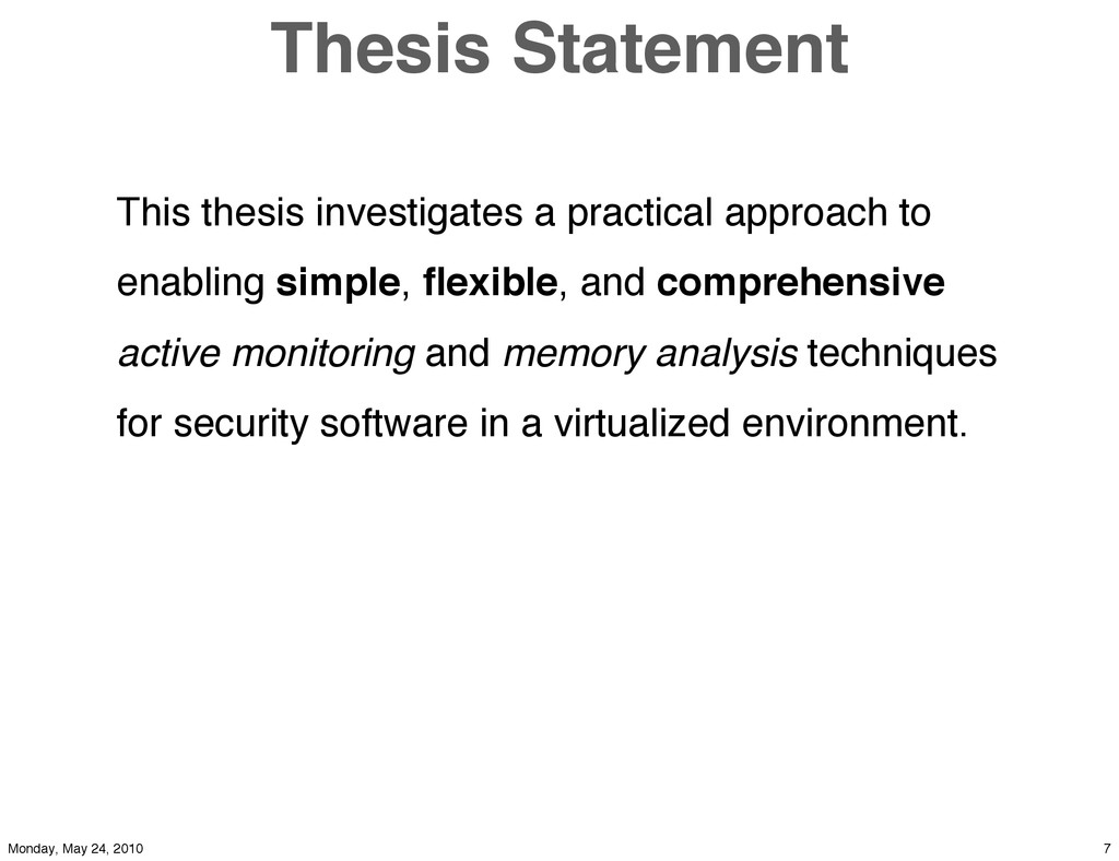 Thesis Statement This thesis investigates a pra...