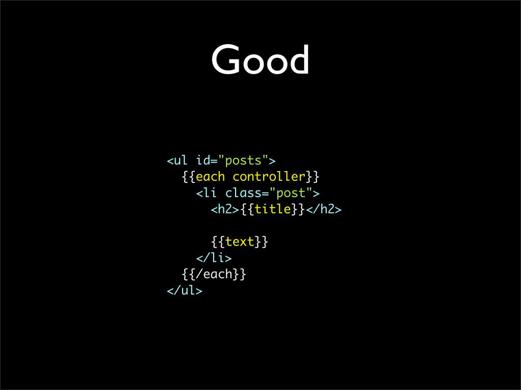 "Good <ul id=""posts""> {{each controller}} <li cl..."