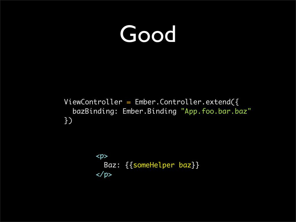 Good ViewController = Ember.Controller.extend({...