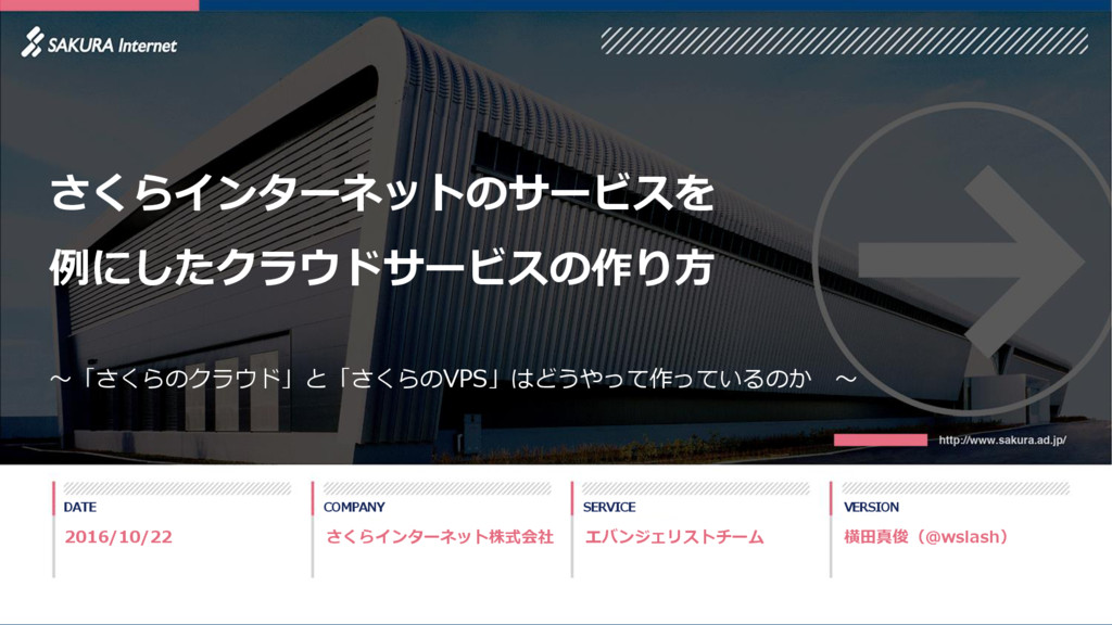 1 DATE COMPANY SERVICE VERSION エバンジェリストチーム 横田真俊...