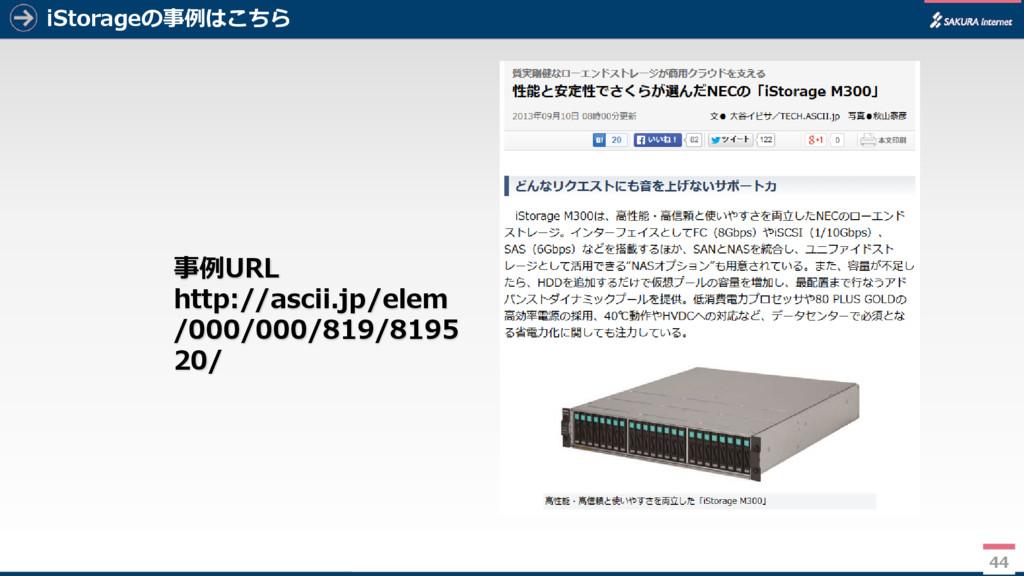 44 iStorageの事例はこちら 44 事例URL http://ascii.jp/ele...