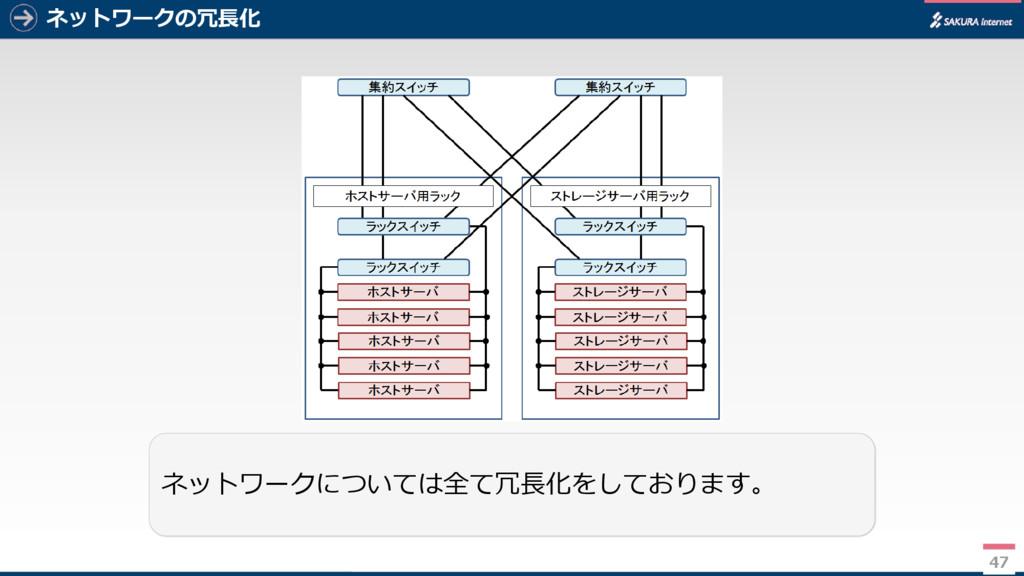 47 ネットワークの冗長化 47 ネットワークについては全て冗長化をしております。