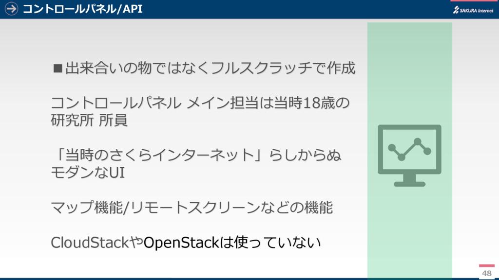 48 コントロールパネル/API 48 ■出来合いの物ではなくフルスクラッチで作成 コントロー...
