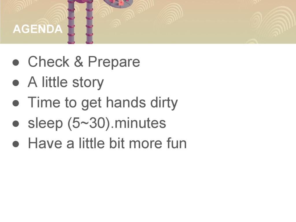 AGENDA ● Check & Prepare ● A little story ● Tim...