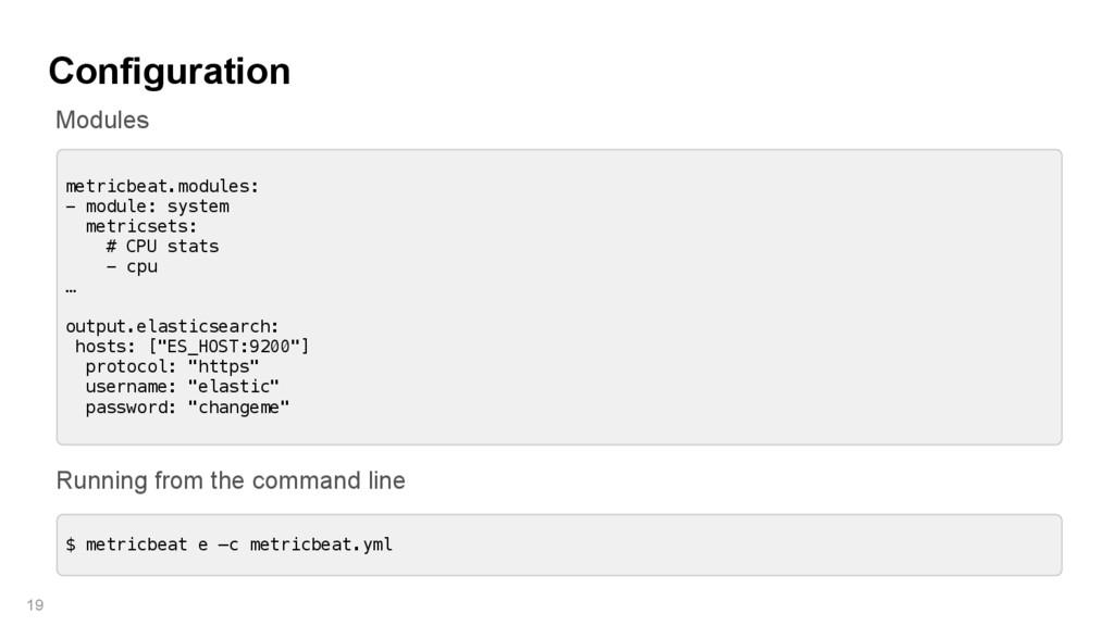 Configuration 19 metricbeat.modules: - module: ...