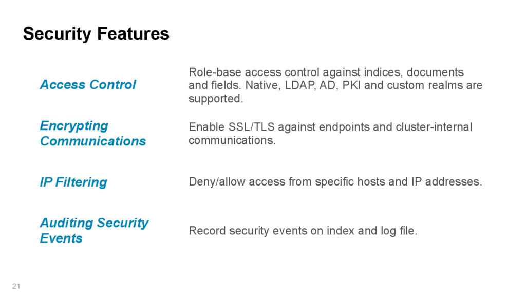 Security Features 21 Access Control Role-base a...