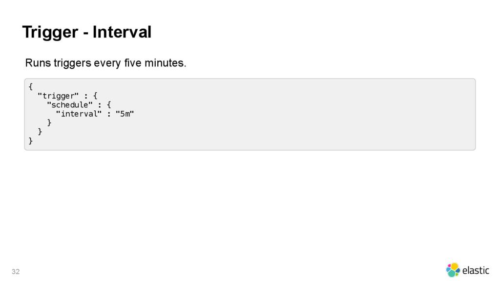 "Trigger - Interval 32 { ""trigger"" : { ""schedule..."