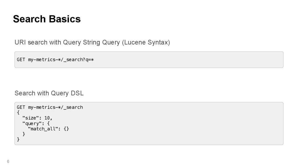 Search Basics 6 GET my-metrics-*/_search?q=* GE...