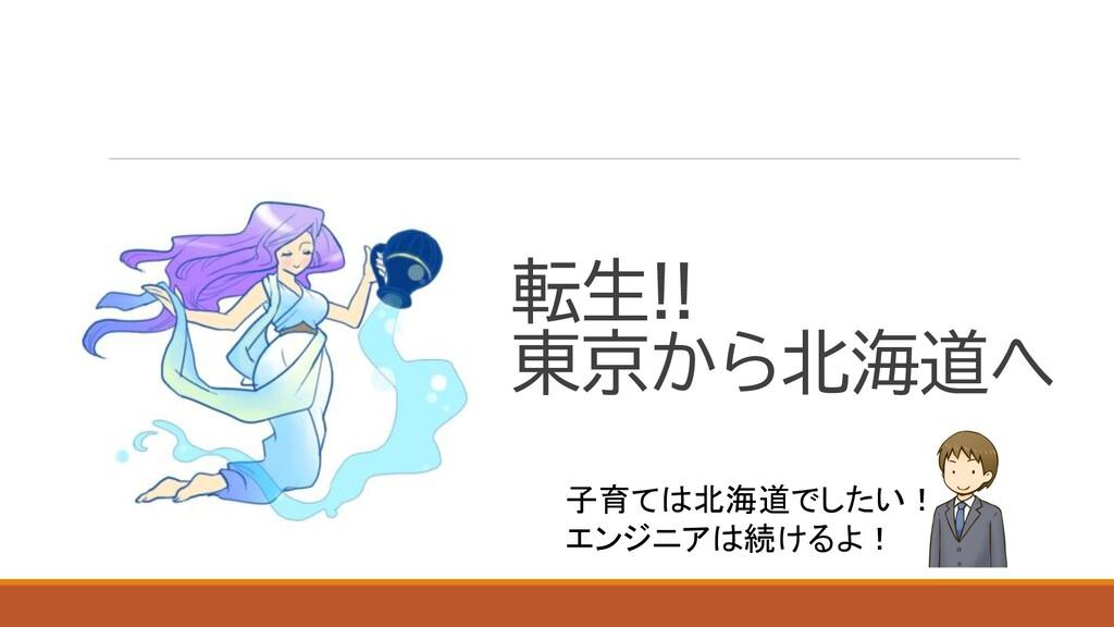 転生!! 東京から北海道へ 子育ては北海道でしたい! エンジニアは続けるよ!