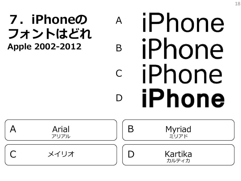 18 7.iPhoneの フォントはどれ Apple 2002-2012 A B C D Ar...
