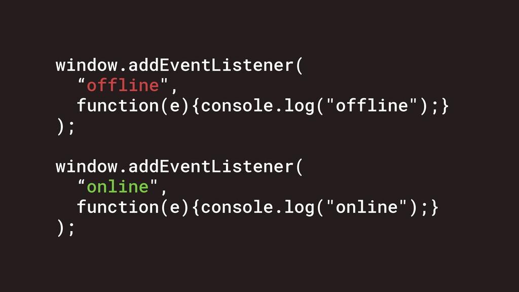 """window.addEventListener( """"offline"""", function(e)..."""