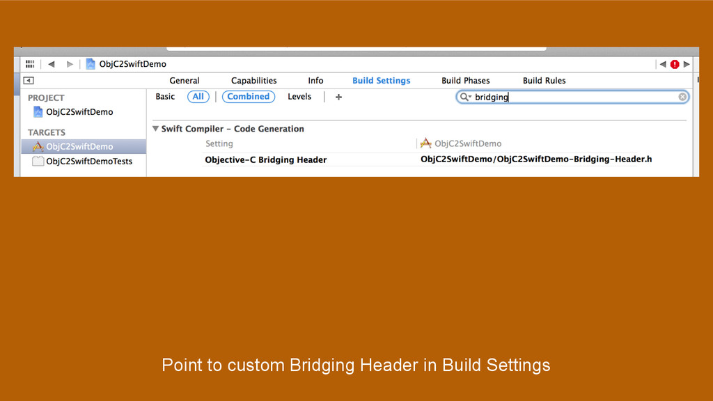 Point to custom Bridging Header in Build Settin...