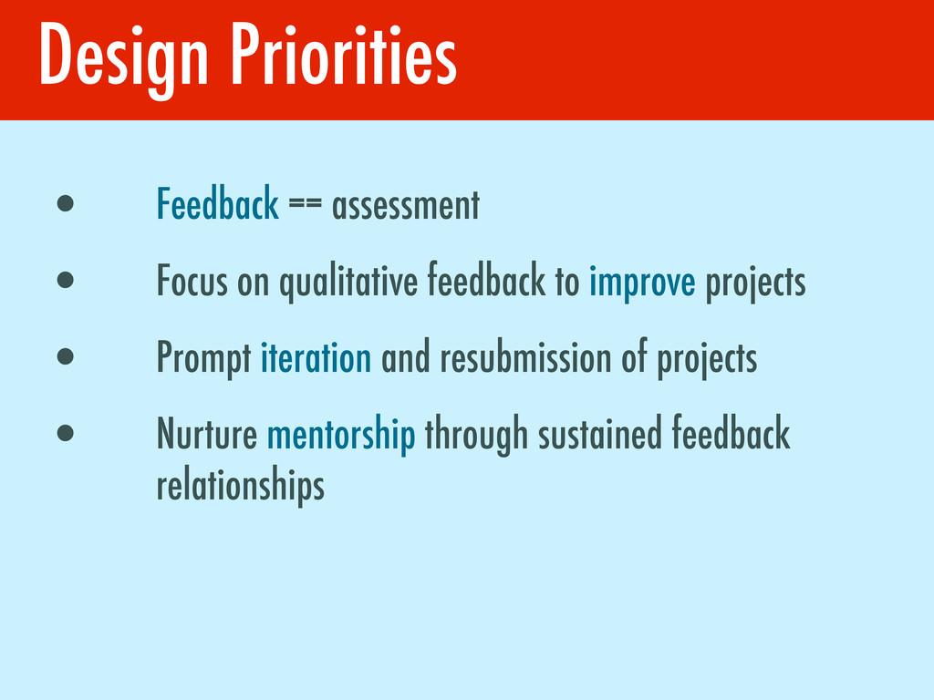 Design Priorities • Feedback == assessment • Fo...