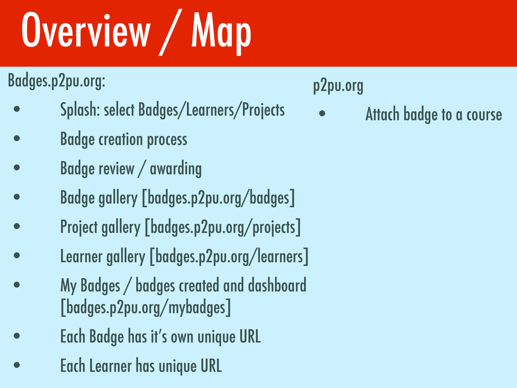 Overview / Map Badges.p2pu.org: • Splash: selec...