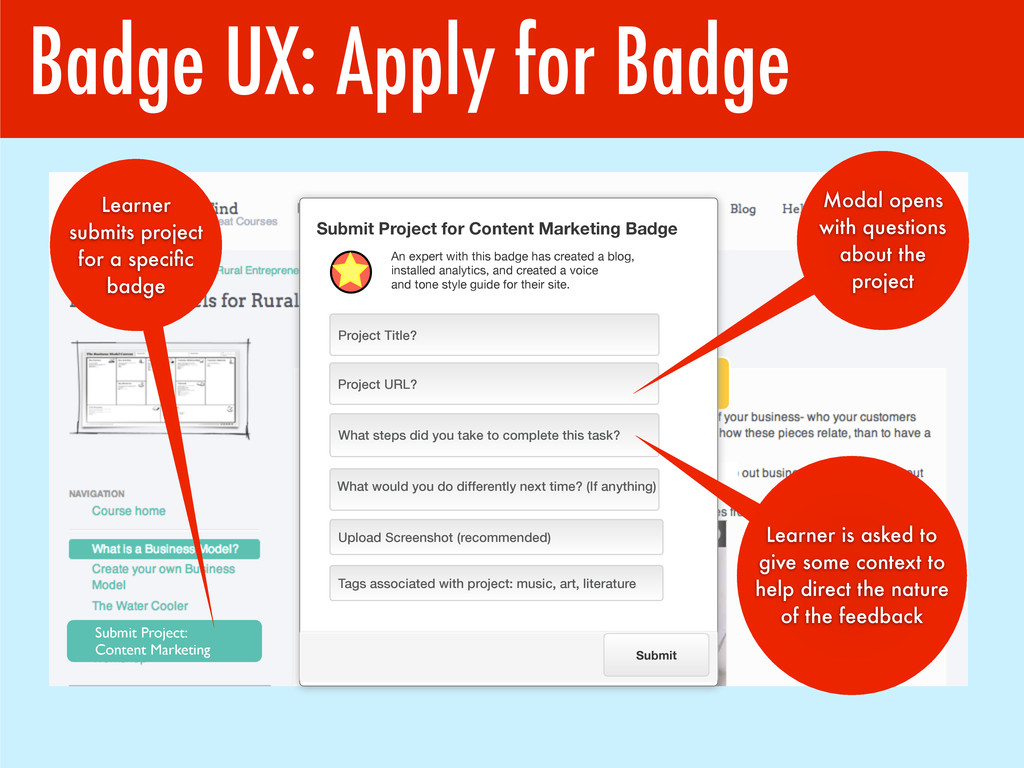 Badge UX: Apply for Badge Submit Project: Conte...