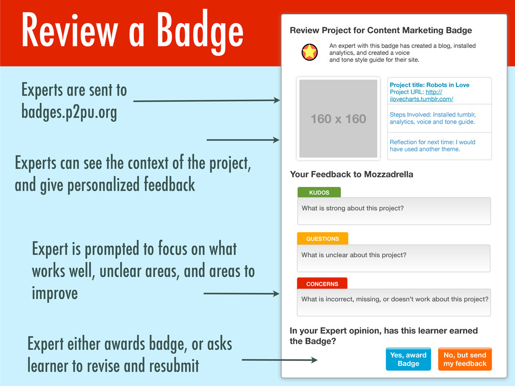 Review a Badge Experts are sent to badges.p2pu....