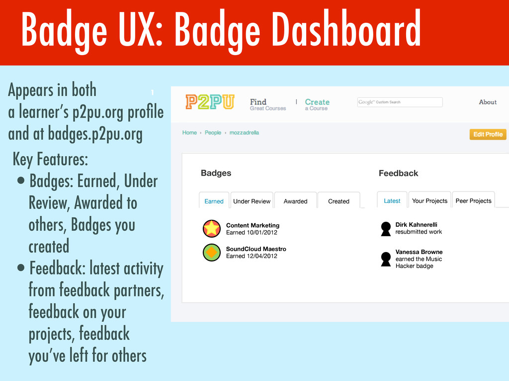 Badge UX: Badge Dashboard 1 Appears in both a l...
