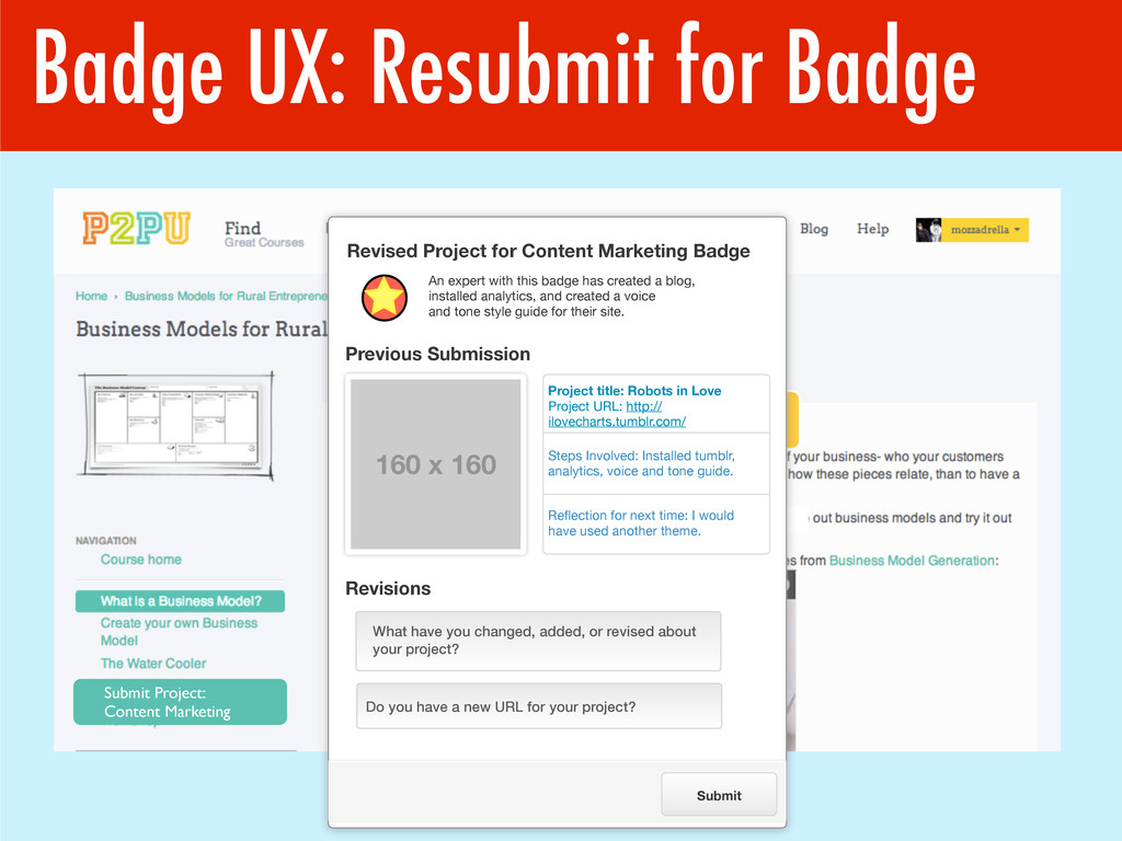 Badge UX: Resubmit for Badge Submit Project: Co...
