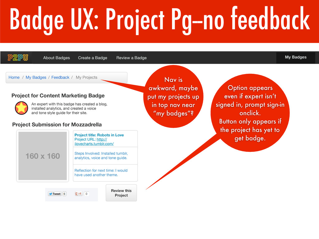 Badge UX: Project Pg--no feedback Project for C...