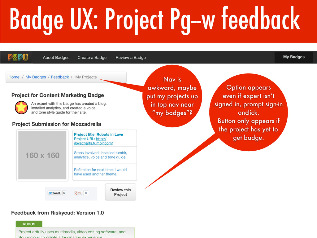 Badge UX: Project Pg--w feedback Project for Co...