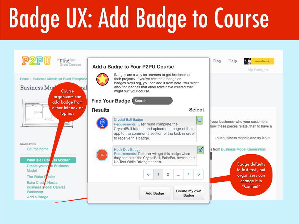 Badge UX: Add Badge to Course Add a Badge Badge...