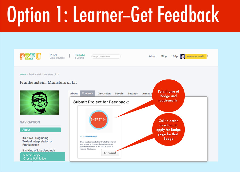 Option 1: Learner--Get Feedback Submit Project:...