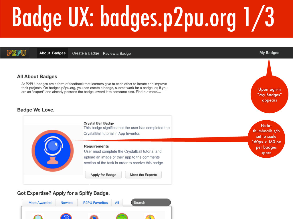 Badge UX: badges.p2pu.org 1/3 1 Requirements Us...